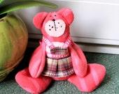 Pink fleece beanie teddie bear,room decoration,pink beanie teddy bear,pink teddy bear, pink teddy,eco friendly,pink bear,bear,pink,