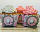 Elephant Argyle CupCake Wrappers, set of 12~ Baby Shower Decor, Blue, Pink,