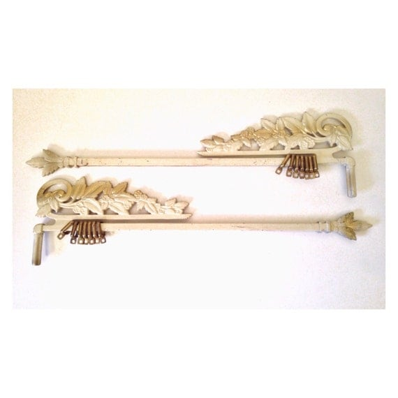 antique curtain rods art nouveau cast metal swing arm