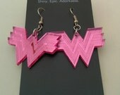 Wonder Woman Pink Shiny Mirrored Dangle Earrings. Powerful Geek Girl Jewelry. Comic Book Superhero Accessory Cosplay Gift