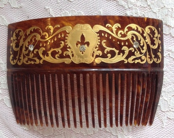 Vintage 1940s Hair Comb with 22k Gold Inlay & Rhinestones