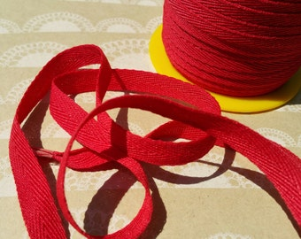 "RED Twill Tape Trim - Sewing Bunting Shipping Packaging - 3/8"" Wide - 10 Yards"