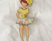 Handmade Pretty Little Girl Prima Beach Summer Dress Paper Doll