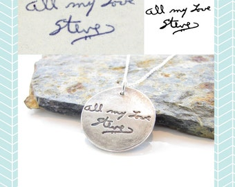 """Actual Handwriting Jewelry -  Loved Ones Handwriting on a Fine Silver 1"""" Pendant"""