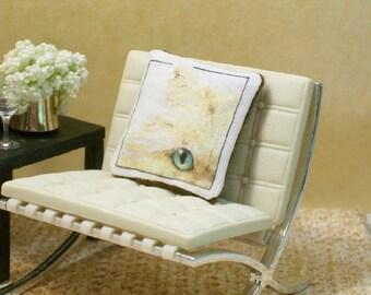 Cream Persian Cat Pillow Cushion Champagne Kitty 1:12 Dollhouse Miniature