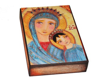 Our Lady of Perpetual Help - Giclee print mounted on Wood (8 x 10 inches) Folk Art  by FLOR LARIOS