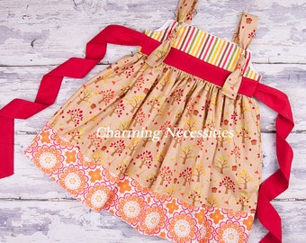 Girls Fall Knot Dress in Apple Harvest by Charming Necessities Toddler Girl Back to School Boutique Clothing Red Orange Brown