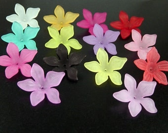 Acrylic Bead 8 Flower COLOR CHOICE Star Daisy 5-Petal Frosted 27mm x 7mm (1019luc27m4)