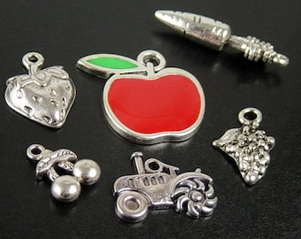 CLEARANCE Jewelry Charm 6 HARVEST Silver Pendant Grapes Strawberry Trackor Carrot Apple Red Enamel Farmer (1050chm25s1)os