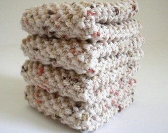 Oatmeal Granola Dish Cloth / Knit Dish Cloth / Knit Wash Rag / Retro Knit Dish Rag / Hand Knit Cloths / under 10 gift