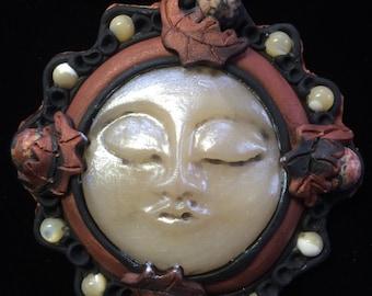 Kabbalations Brown Fall Moon Goddess Faerie Pendant with Rhodonite & Shell Gemstones