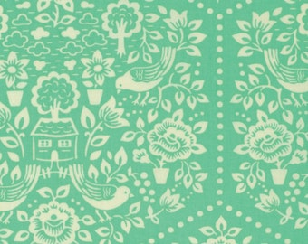 Fabric Listing - Heather Bailey Clementine - Summerhouse in Turquoise - Heather Bailey Fabric by the Yard - Quilter's Cotton