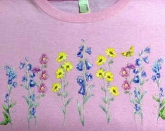 Floral Sweatshirt OR Long Sleeve Tee Shirt Small thru 3XL Butterfly Flower FREE SHIPPING Plus Sizes Too Grandma Wild Flower New Mom Garden