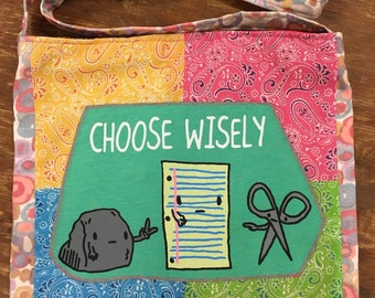 Rock, paper, scissors choose wisely tshirt bag