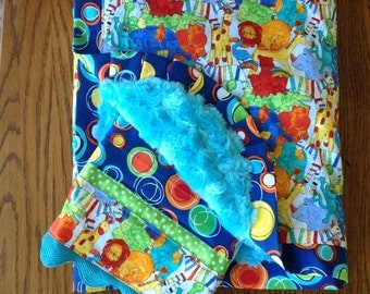 Bright and Fun Jungle Animal Minky Blanket and Burp Cloth Set...Ready to Ship