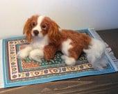 Custom felted dog portrait Pet Memorial replica Sculpture Cavalier King Charles Spaniel