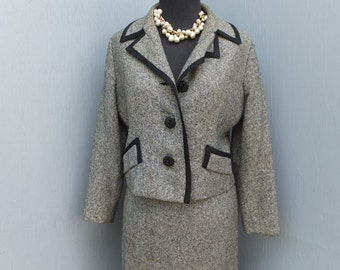 1960s black and White Tweed Suit by Snyder Craft / Business Suit / Mad Men style suit / Size 10