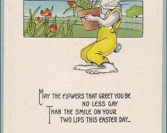 Vintage EASTER postcard, A Joyful Easter, Rabbit holding a potted plant of tulips, Poem  Vintage Easter Postcard