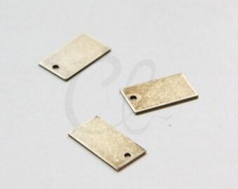 4pcs Antique Brass Rectangle Charm - 15x8.5mm (1694C-M-29)