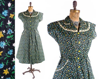 Vintage 50s Dress // 1950s Dress // NWT Old Stock Dress // Floral Dress with Looped Collar - sz XL - 36 Waist