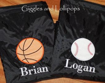 Boys girls personalized baseball football basketball sports or cars cinch sak backpack ring bearer flower girl gift