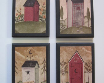 Outhouses, 4 Wall Decor Plaques, rustic country bath, handcrafted