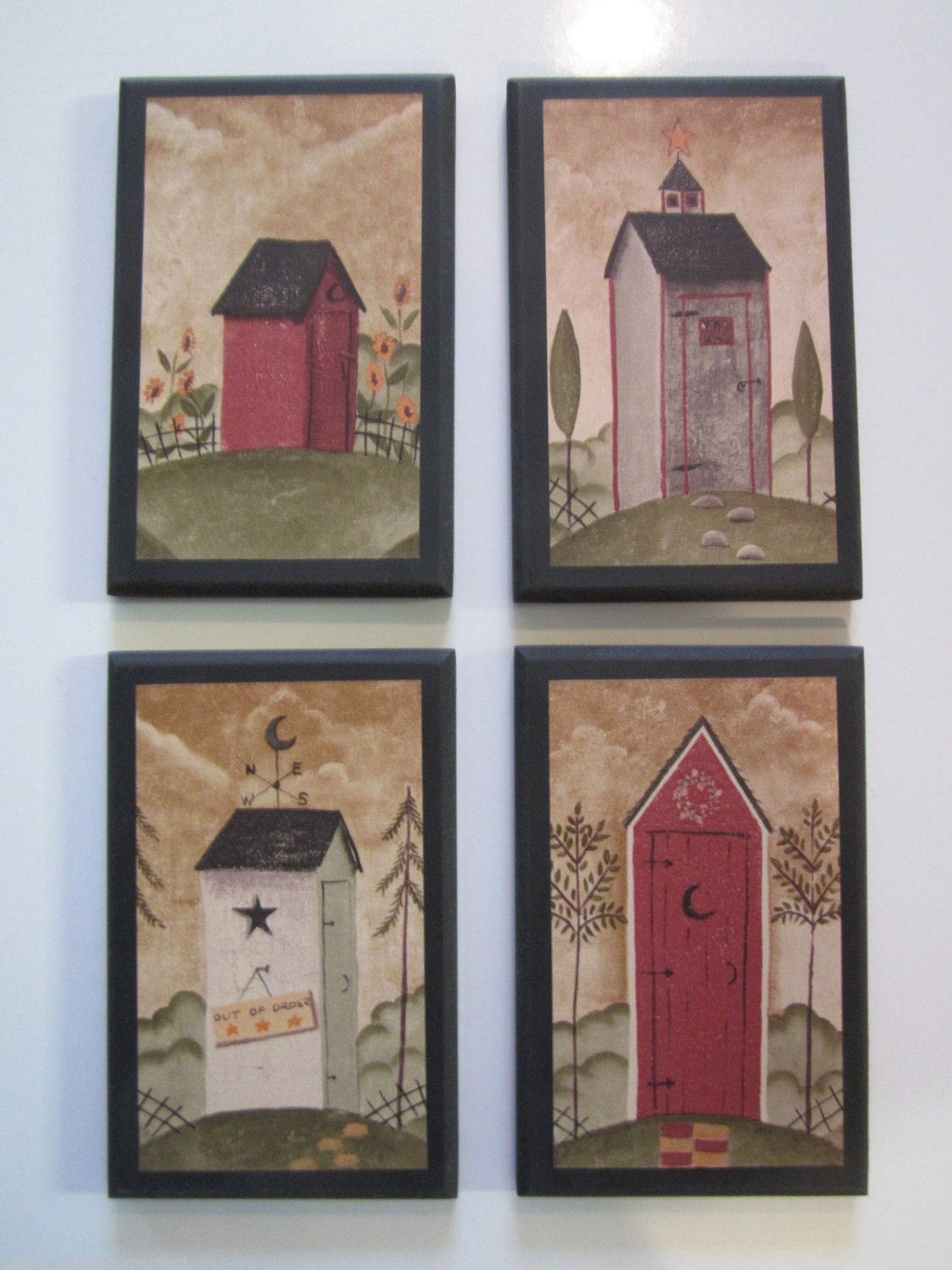 Outhouses 4 wall decor plaques rustic country bath - Rustic wall plaques ...