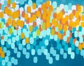 Carnival Lights, oil painting, original artwork, home decor, design, pills, ovals, tea blue, golden yellow, aqua
