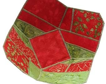 Reversible Fabric Bowl in Red and Green Batik Fabrics