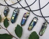 Crystal Necklace - Rainbow Titanium Aura Quartz with Black Cord - Rainbow Shard - Rainbow Crystal Necklace