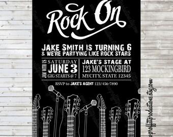 Rock On custom concert gig birthday party invitation - digital file