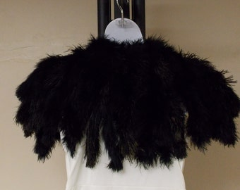 Antique Edwardian black ostrich feather cape shawl tie front close