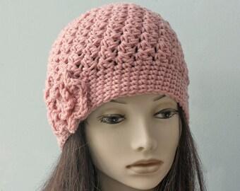 Custom Slouchy Beanie Hat, Chose Color, Flower Cloche,  Winter Hat, Woman's Hat, Crochet Hat,