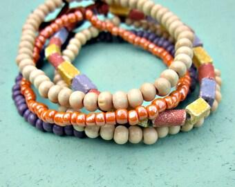 Beaded Bracelet Assortment, Set of Five in Summer Pastels: Catalina