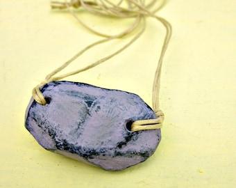 Purple Papier Mache Nugget Pendant on Cotton Cord Necklace: Quarry