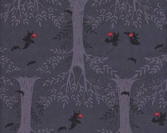 Windham Fabrics Mischief Night Halloween Forest in Charcoal - Half Yard