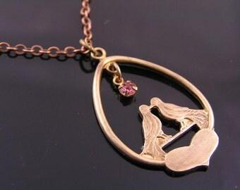 Romantic Initial Necklace, Pink Swarovski Crystal, Monogram Necklace, Couple Necklace, Wedding Jewelry, Boyfriend Girlfriend Necklace