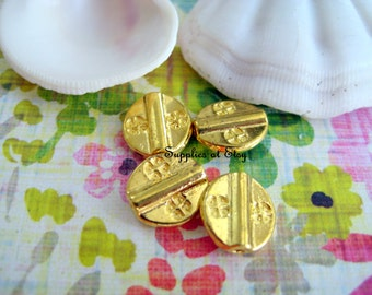 Yoga coin Gold Plated whimsical Flower Charm-Gold Tietan Style Links Connectors Pendants-flat circle beads-coin Charms beads-Hippie beads