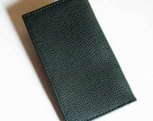 Green Leather Checkbook Cover/Holder - Forest Green Leather