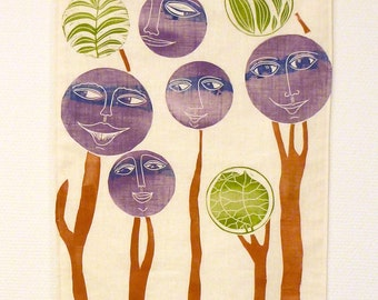 wall hanging, happy family, textile art, art on fabric, smiley faces, forest, woods, landscape, trees, leaves, interior decorating, home