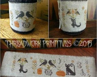 Primitive Cross Stitch Pattern - Halloween Menagerie Drum & Wrap