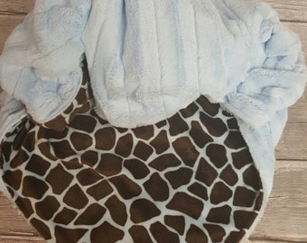 minky blanket in baby blue and brown giraffe with baby blue chinchilla minky.
