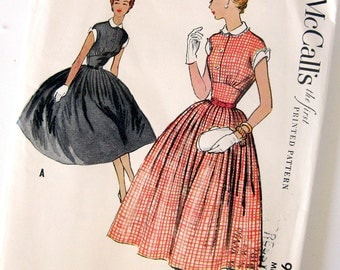 1950s Vintage Sewing Pattern - Day Dress with Full Skirt and Fitted Midriff - McCall's 9727 //  Size 14 UNCUT FF