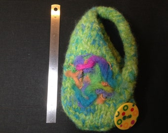 Felted Cell Phone Case...Felted Pouch...Wool Funky Case...Felted Hanging Phone Case...Felted Button On Case
