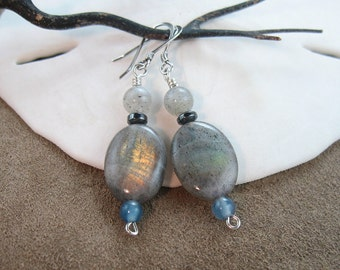 Shimmering Labradorite Gemstone Earrings, Womens Dangle Earrings, Womens Gemstone Earrings, Gift for Her, Sterling Silver Earrings