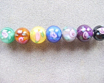 BEADS, CZECH, GLASS,  6 mm, Round,Lampwork, Color Choice, Flower, 10 Beads