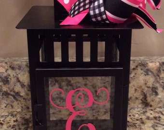 Personalized Metal and Glass Candle Lantern