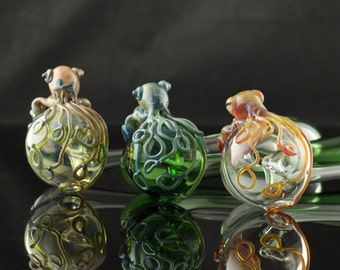 Cuttlefish Glass Churchwarden Pipe Hand Blown Thick Wall in YOU CHOOSE the COLOR, Made to Order
