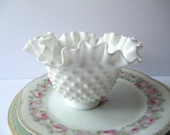 Vintage Fenton Milk Glass Hobnail Small Serving Bowl
