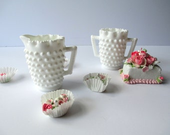 Vintage Fenton Milk Glass Hobnail Small Cream and Sugar Set